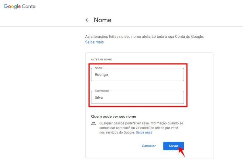 Como mudar nome no Google Meet?